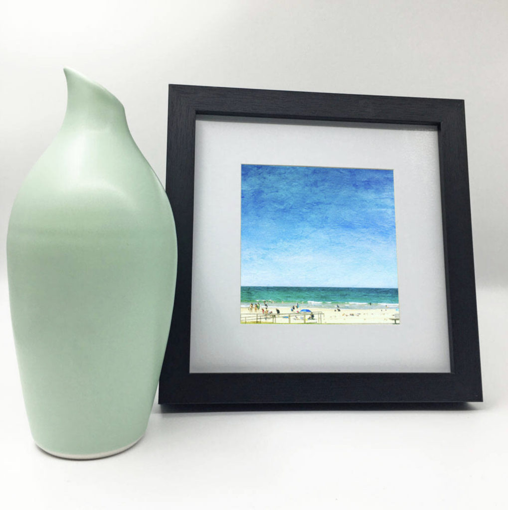 Photo of beach print in a frame